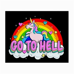 Go To Hell   Unicorn Small Glasses Cloth (2 Side) by Valentinaart