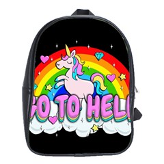 Go To Hell - Unicorn School Bag (large) by Valentinaart