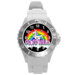 Go To Hell   Unicorn Round Plastic Sport Watch (l) by Valentinaart