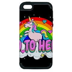 Go To Hell   Unicorn Apple Iphone 5 Hardshell Case (pc+silicone) by Valentinaart