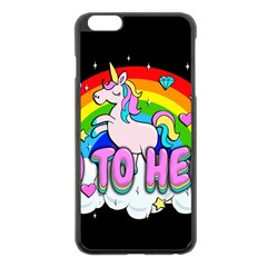 Go To Hell   Unicorn Apple Iphone 6 Plus/6s Plus Black Enamel Case by Valentinaart