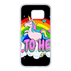Go To Hell   Unicorn Samsung Galaxy S7 Edge White Seamless Case by Valentinaart