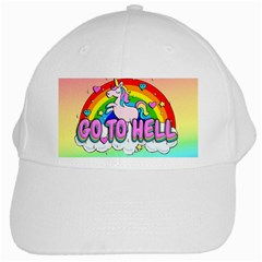 Go To Hell   Unicorn White Cap by Valentinaart
