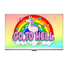 Go To Hell   Unicorn Business Card Holders by Valentinaart
