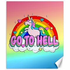 Go To Hell   Unicorn Canvas 20  X 24   by Valentinaart
