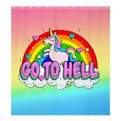 Go To Hell   Unicorn Shower Curtain 66  X 72  (large)  by Valentinaart