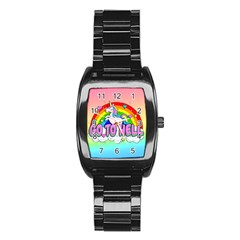 Go To Hell   Unicorn Stainless Steel Barrel Watch by Valentinaart