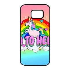 Go To Hell   Unicorn Samsung Galaxy S7 Edge Black Seamless Case by Valentinaart