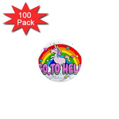 Go To Hell   Unicorn 1  Mini Magnets (100 Pack)  by Valentinaart