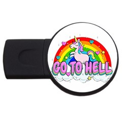 Go To Hell   Unicorn Usb Flash Drive Round (2 Gb) by Valentinaart