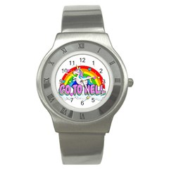 Go To Hell   Unicorn Stainless Steel Watch by Valentinaart