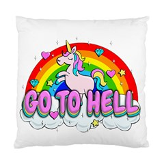 Go To Hell   Unicorn Standard Cushion Case (one Side) by Valentinaart