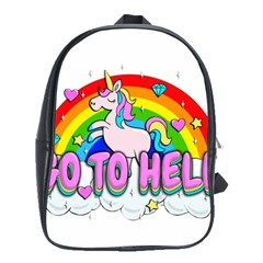Go To Hell   Unicorn School Bag (large) by Valentinaart