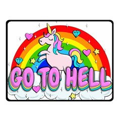 Go To Hell   Unicorn Fleece Blanket (small) by Valentinaart