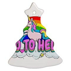 Go To Hell   Unicorn Christmas Tree Ornament (two Sides) by Valentinaart