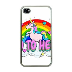 Go To Hell   Unicorn Apple Iphone 4 Case (clear)