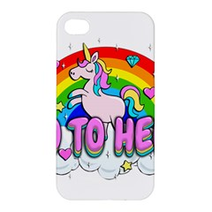 Go To Hell   Unicorn Apple Iphone 4/4s Premium Hardshell Case by Valentinaart