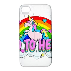 Go To Hell   Unicorn Apple Iphone 4/4s Hardshell Case With Stand by Valentinaart