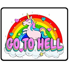 Go To Hell   Unicorn Double Sided Fleece Blanket (medium)  by Valentinaart