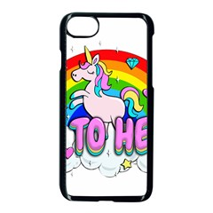 Go To Hell   Unicorn Apple Iphone 8 Seamless Case (black) by Valentinaart