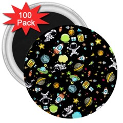 Space Pattern 3  Magnets (100 Pack) by Valentinaart