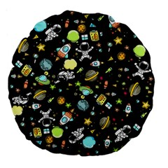 Space Pattern Large 18  Premium Flano Round Cushions by Valentinaart