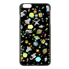 Space Pattern Apple Iphone 6 Plus/6s Plus Black Enamel Case