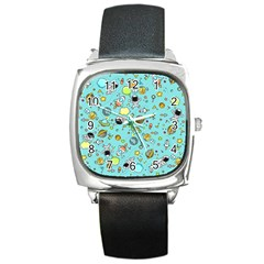 Space Pattern Square Metal Watch by Valentinaart