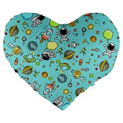 Space Pattern Large 19  Premium Heart Shape Cushions by Valentinaart