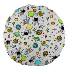 Space Pattern Large 18  Premium Round Cushions by Valentinaart