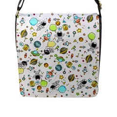 Space Pattern Flap Messenger Bag (l)  by Valentinaart