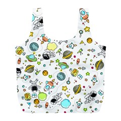 Space Pattern Full Print Recycle Bags (l)  by Valentinaart