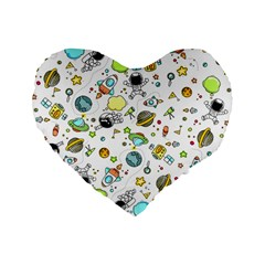Space Pattern Standard 16  Premium Flano Heart Shape Cushions by Valentinaart