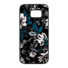 Floral Pattern Samsung Galaxy S7 Edge Black Seamless Case
