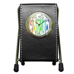 Genius Funny Typography Bright Rainbow Colors Pen Holder Desk Clocks by yoursparklingshop