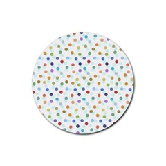 Dotted Pattern Background Brown Rubber Coaster (round)