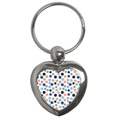 Dotted Pattern Background Blue Key Chains (heart)  by Modern2018