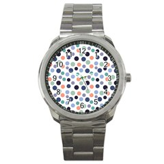 Dotted Pattern Background Blue Sport Metal Watch by Modern2018