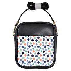 Dotted Pattern Background Blue Girls Sling Bags by Modern2018