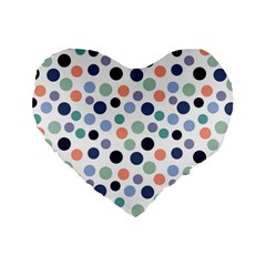 Dotted Pattern Background Blue Standard 16  Premium Flano Heart Shape Cushions by Modern2018