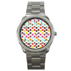 Dotted Pattern Background Sport Metal Watch by Modern2018