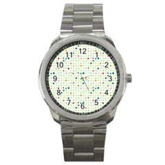 Dotted Pattern Background Full Colour Sport Metal Watch by Modern2018