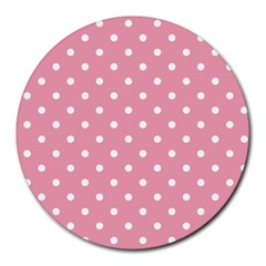 Pink Polka Dot Background Round Mousepads by Modern2018