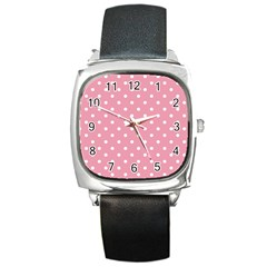 Pink Polka Dot Background Square Metal Watch by Modern2018