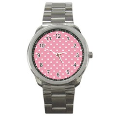 Pink Polka Dot Background Sport Metal Watch by Modern2018
