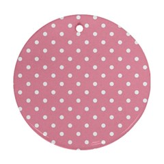 Pink Polka Dot Background Round Ornament (two Sides) by Modern2018