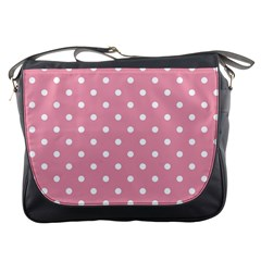 Pink Polka Dot Background Messenger Bags by Modern2018