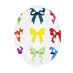 Ribbons And Bows Polka Dots Oval Filigree Ornament (two Sides) by Modern2018