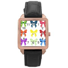 Ribbons And Bows Polka Dots Rose Gold Leather Watch