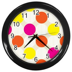 Polka Dots Background Colorful Wall Clocks (black) by Modern2018